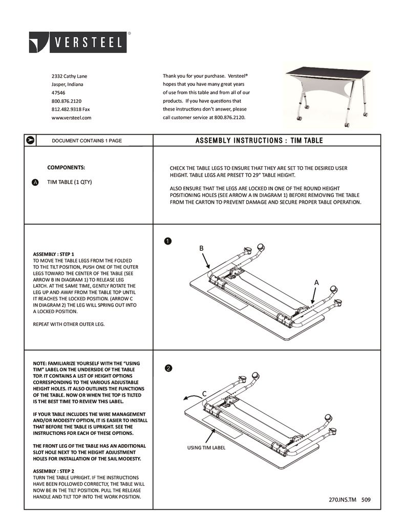 Assembly Instructions Tim Table Assembly Pdf Versteel